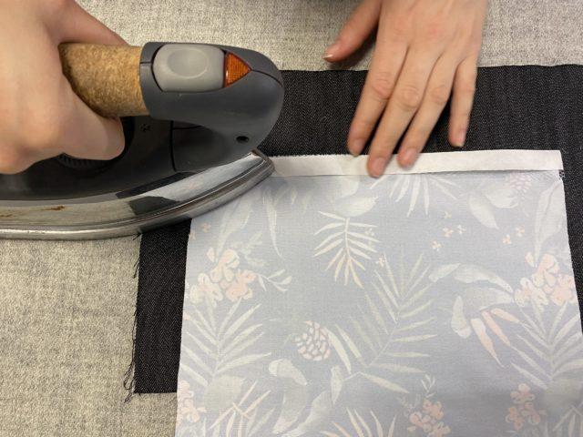 Hem-ironing-process-with-hotmelt-net-adhesive-tape