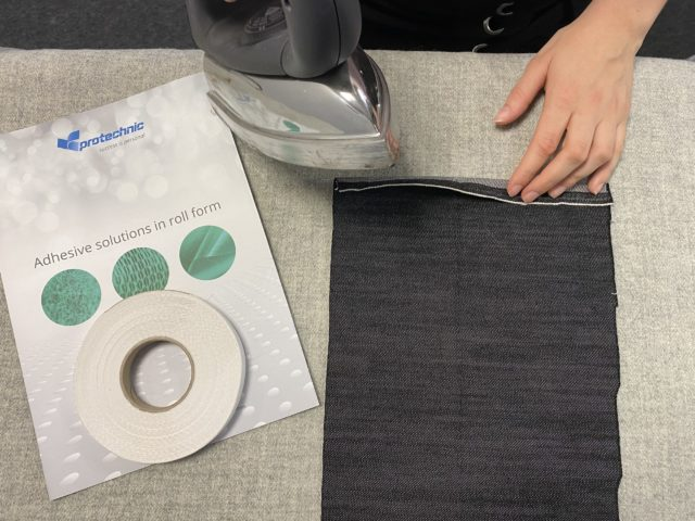 Iron process on hotmelt adhesive tape for textile